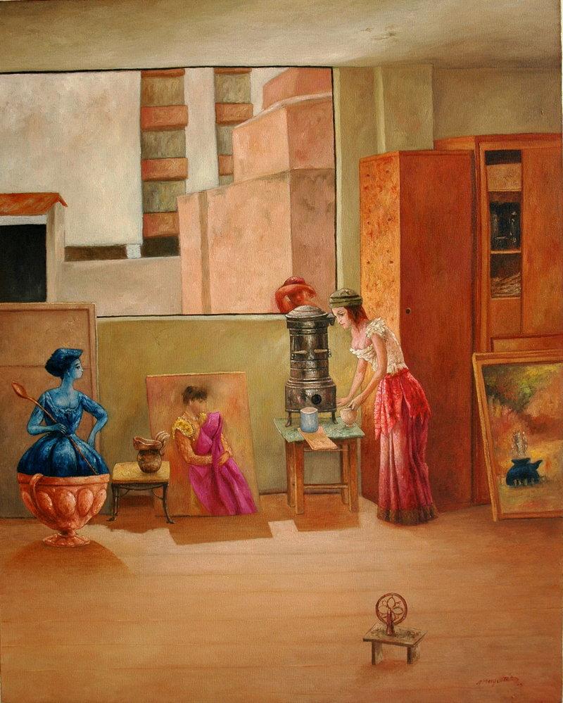 Washington Mosquera - En el taller del pintor | Mosquera Washington