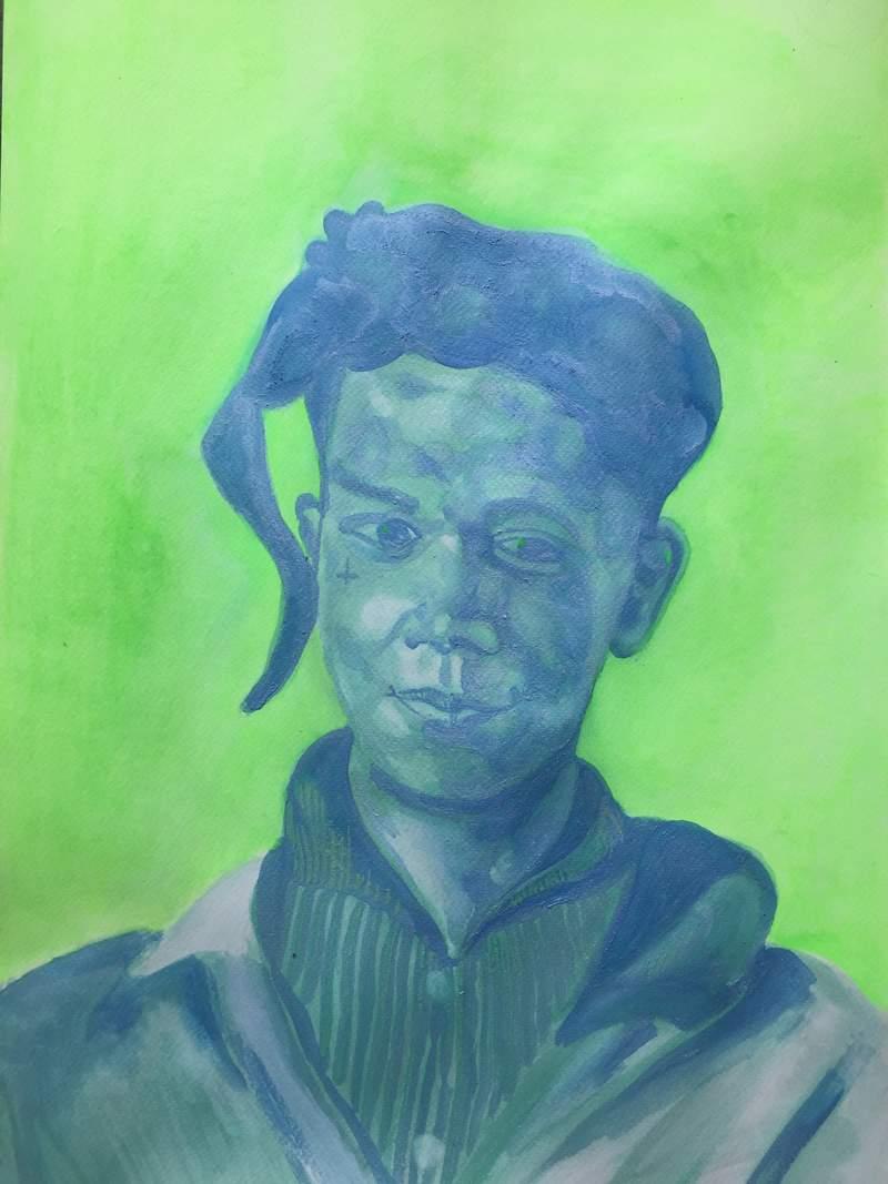 Basquiat en azul con fondo verde | Pazmiño Alvaro