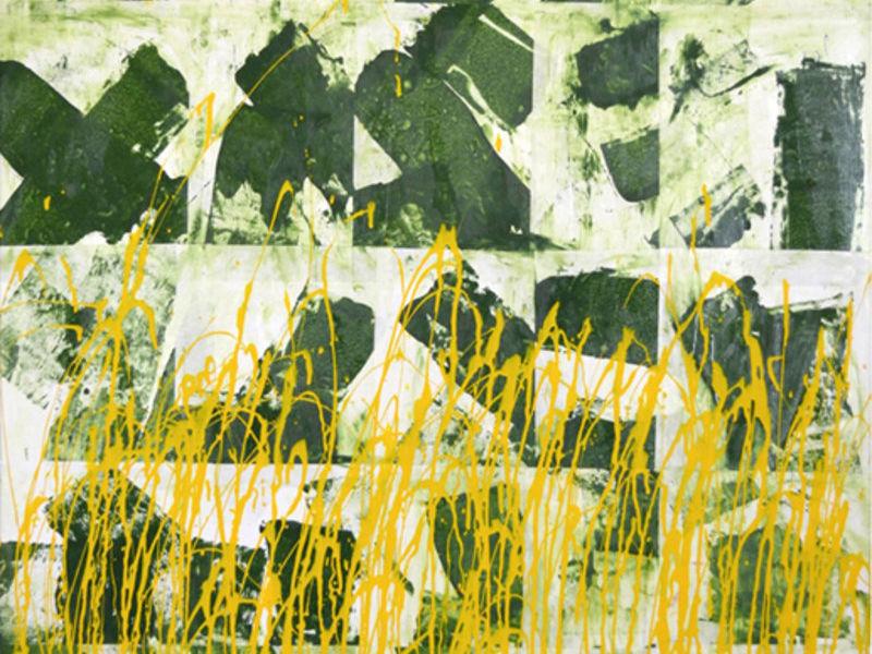 Espigas amarillas en fondo verde