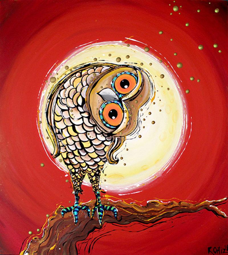 Buho, en rojos y luna | Ortiz Roberto