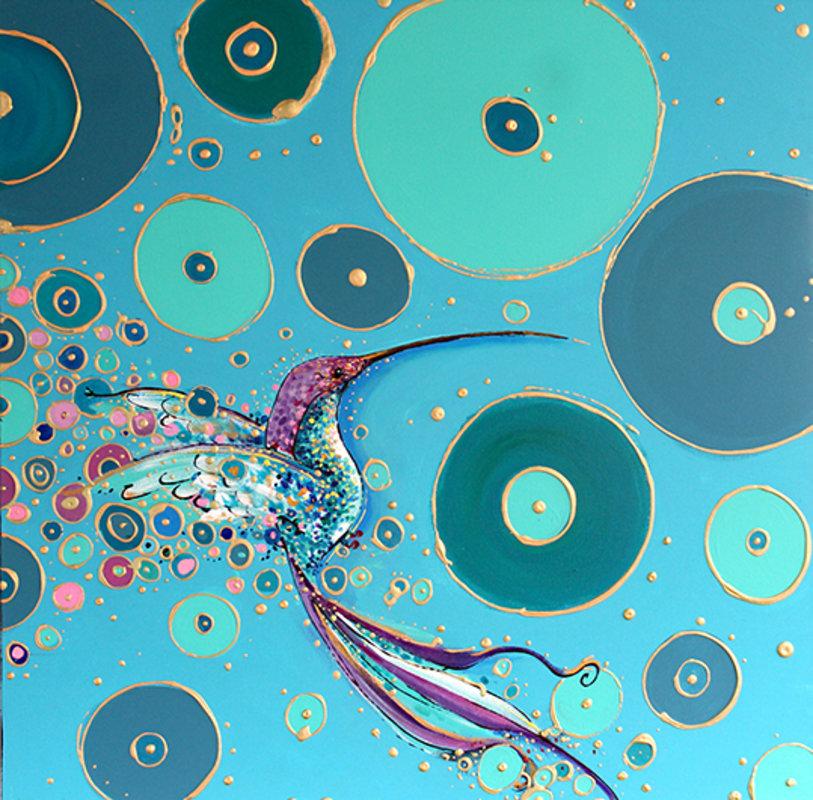 Ortiz Roberto / colibrí fondo azul... | Ortiz Roberto