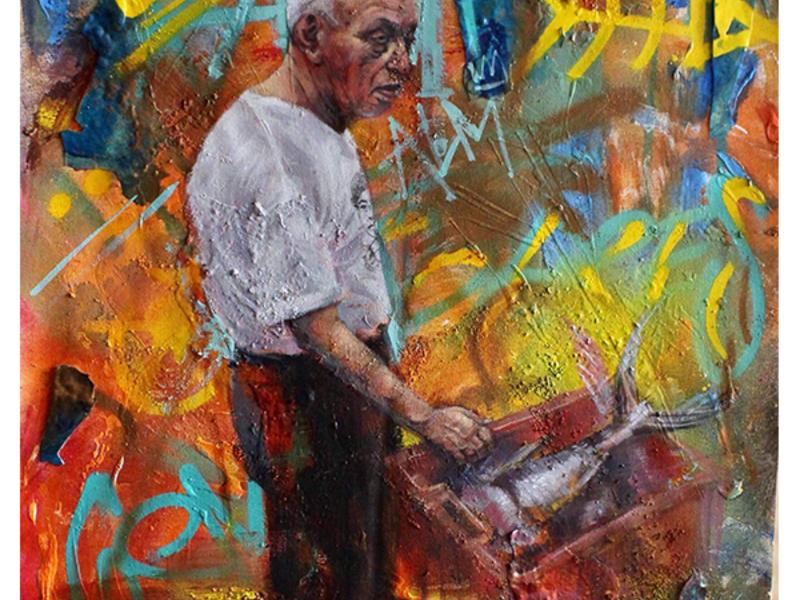 pintura, painting, tradicional, técnica mixta